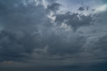 Dramatic dark cloudy sky before a thunderstorm. Moody cloudscape background