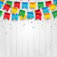 Party celebration flag on white wood background, vector illustration