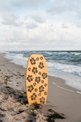 lonely surfboard on the beach