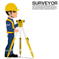 A surveyor is setting up the optical level on transparent background