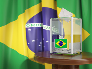 Ballot box with flag of Brazil and voting papers. Brazilian presidential or parliamentary election.
