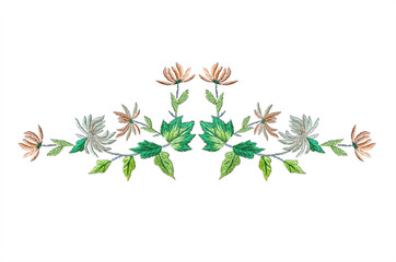 Floral pattern for embroidery garland of autumn leaves with pink-cream and white chrysanthemums on white background