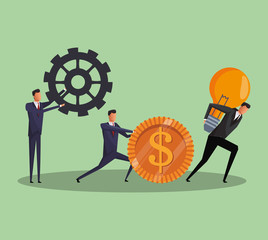 Executive business worker pushing and holing gear coin and bulb vector illustration graphic design
