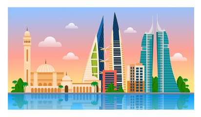 Welcome to Bahrain. Manama. Cityscape template of flyer, magazines, posters, book cover, banners and guide book. Vector modern flat illustration.