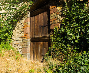 old wooden door brick wall