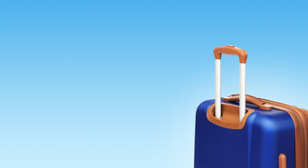 Colorful horizontal banner with suitcase and copyspace. Travelling concept.