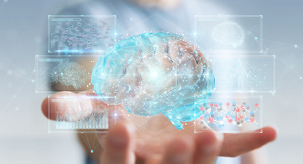 Businessman using digital 3D projection of a human brain 3D rendering