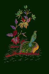 Bird on a stone near a branch with yellow-blue chrysanthemums and motley autumn leaves on dark green background