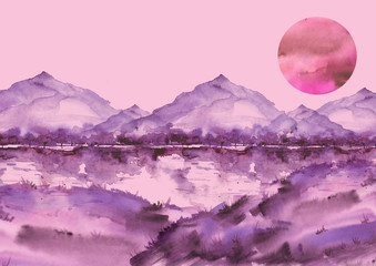 Watercolor pink mountain landscape, , peak, forest silhouette, reflection in the river, red sunset sun. Country landscape, watercolor illustration, picture.