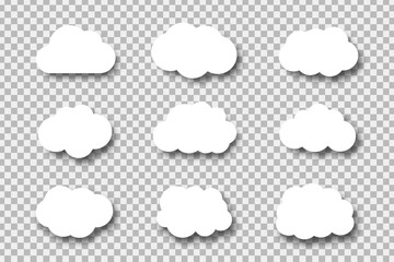 Vector set of realistic isolated paper clouds for decoration and covering on the transparent background.