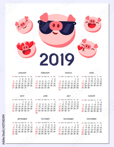 Pig emoji, emoticon calendar 2019 year of pig  Vector Chinese Zodiac
