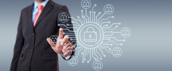 Businessman protecting his datas with thin line security interface