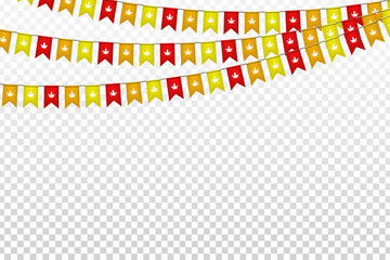 Vector realistic isolated party flags for autumn festival celebration for decoration and covering on the transparent background. Concept of Thanksgiving day and harvest.