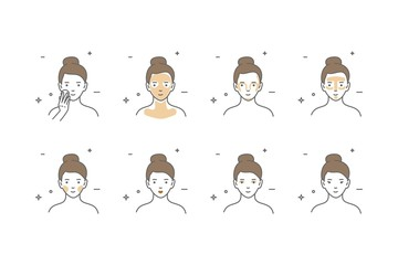 Woman take care about face. Steps how to apply face make-up.