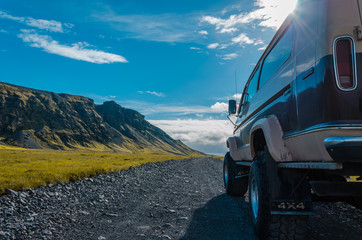 4x4 truck on a dirt road in Iceland