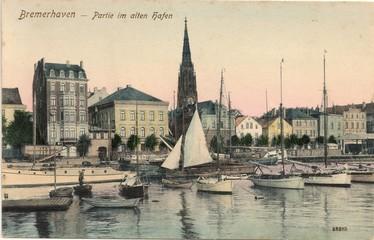 Photo Blinds Port Bremerhaven; Partie im Alten Hafen 1904 (original historische Postkarte von Reinicke & Rubin Magdeburg )