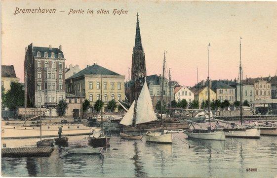Bremerhaven; Partie im Alten Hafen 1904 (original historische Postkarte von Reinicke & Rubin Magdeburg )