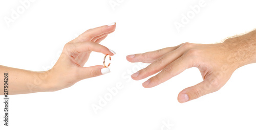 Wedding Rings Two Hands On A White Background