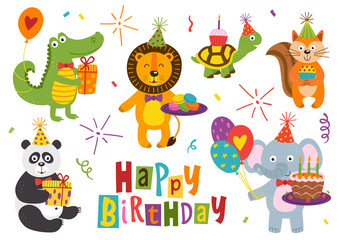 set of isolated funny animals for Happy Birthday design part 2 - vector illustration, eps