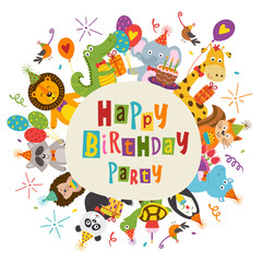 frame Happy Birthday with funny animals - vector illustration, eps