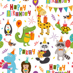 seamless pattern with funny animals Happy Birthday on white background - vector illustration, eps