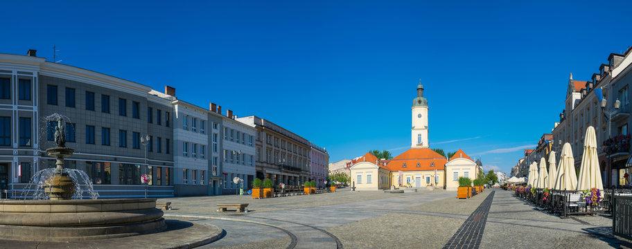 Town hall and fountain on the Kosciuszki market in Bialystok, Podlaskie, Poland
