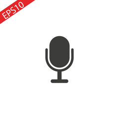 Microphone Icon vector flat design on white background.
