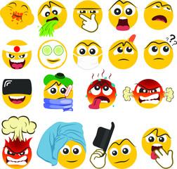 Set of emoticons with different emotions in a flat design. PART 2