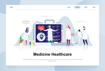 Medicine and healthcare modern flat design concept. Pharmacy and people concept. Landing page template. Conceptual flat vector illustration for web page, website and mobile website.