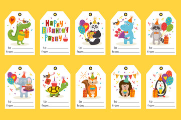 set of tags with funny animals Happy Birthday - vector illustration, eps