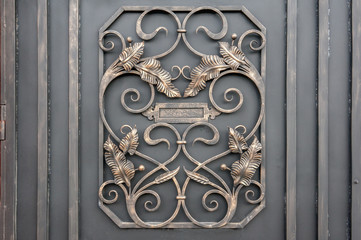 Metal forged background. Metal gate. Close up.