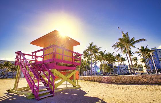 Miami Beach lifeguard booths