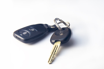 Car keys isolated over white background.