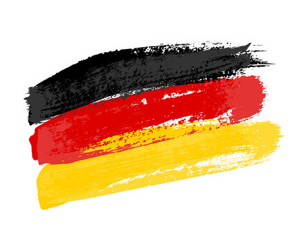 German flag made of brush strokes. Vector grunge flag of Germany isolated on white background.