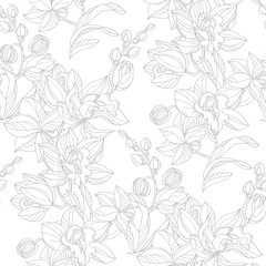 Black and white orchid floral seamless pattern