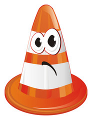 cone, traffic cone, road cone, road safety cone, orange traffic cone, orange cone, face, sad