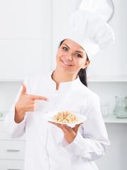 Brunette girl cook