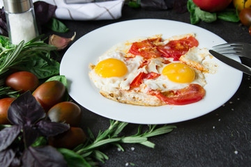 omelet fried egg tomatoes  healthy food herbs