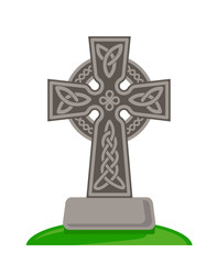 Celtic ornamental cross isolated on white background. Vector flat illustration.