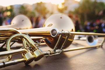 wind instruments lying on a table against a blurred background Wall mural