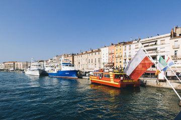 Boats in the harbour of the city of Sete, southern France.