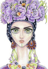 The girl with flower wreath in color (24)
