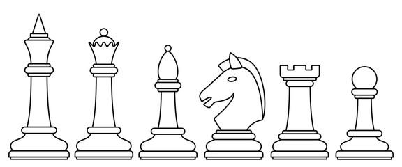 Chess contour set illustration