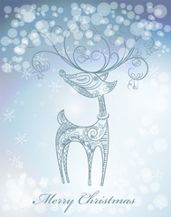 Hand drawn Christmas deer on snowfall background