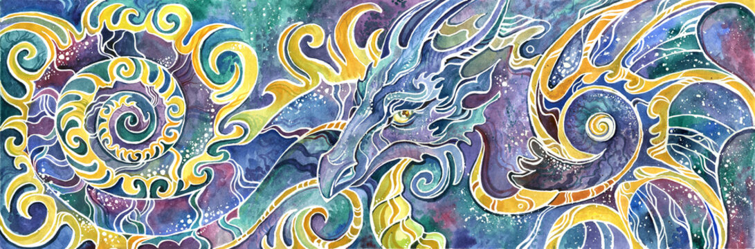 triptych Chinese dragon full set colorful drawn
