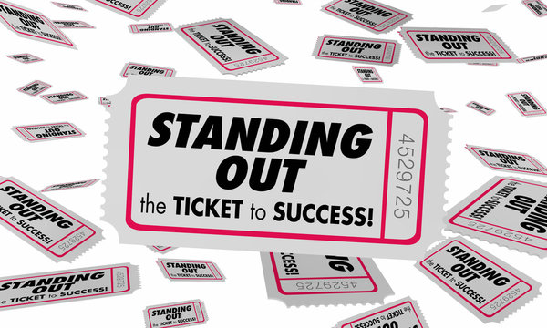 Standing Out Be Unique Ticket Success 3d Illustration