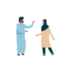 arab couple standing together communication concept man woman cartoon character silhouette full length isolated vector illustration