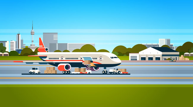 transport airplane express delivery preparing flight aircraft airport air cargo international transportation concept forklift loading parcel boxes flat horizontal vector illustration