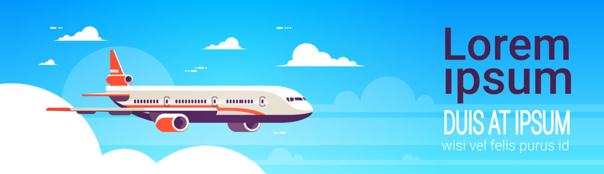 flying airplane express delivery shipping international transportation concept sky background flat horizontal banner copy space vector illustration
