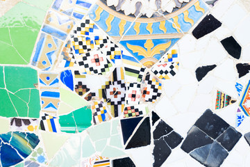 close up detail of famous colorful bench of park Guell